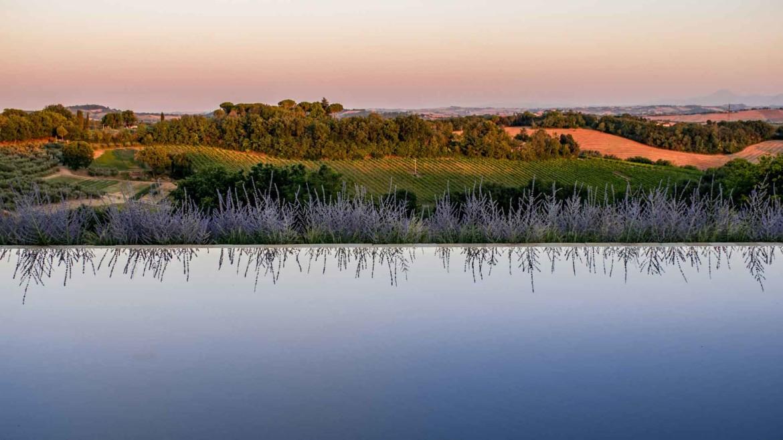 Piscina, tramonto, acqua, piscina a sfioro, colline, marche, pesaro